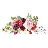 Watercolor floral bouquet painting with marsala roses and foliage