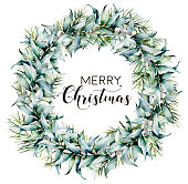 Watercolor Merry Christmas wreath with eucalyptus. Hand painted fir border with eucalyptus leaves and branches, white berries isolated on white background. Botanical floral print for design.