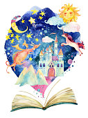 Watercolor open book with magic world on cloud. The whole fairy tale world in one book. Starry sky, moon and sun, magic castle, flying dragon and unicorn. Hand painted book illustration for educationa
