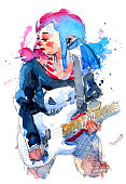 watercolor painting illustration set of cool rock star girl with electric bass guitar, traditional artwork scanned