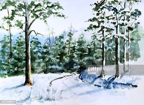 Watercolor painting of snow scene with a road and trees