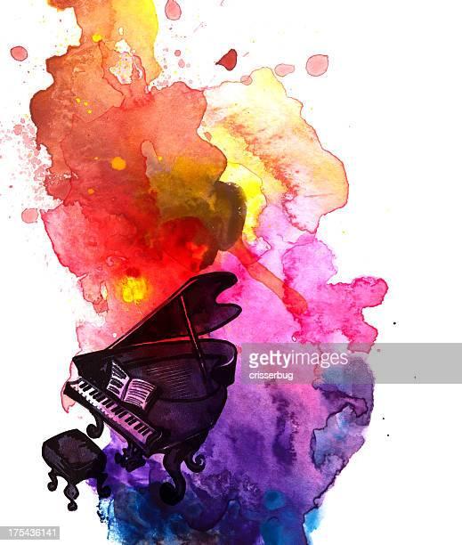 Piano abstrait Aquarelle
