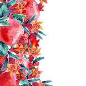 Watercolor pomegranate bloom branches and fruit card. Pomegranate fruit, berries and flower on white background. Hand painted illustration