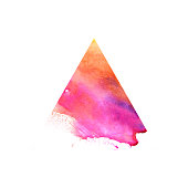 Watercolor red triangle. Raster illustration on a white background. Beautiful abstraction. Elements for design.