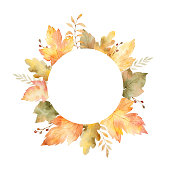 Watercolor round frame of leaves and branches isolated on white background. Autumn illustration for greeting cards, wedding invitations, quote and decorations.