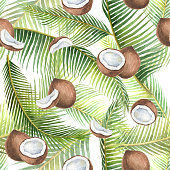 Watercolor seamless pattern with tropical green leaves and coconuts isolated on white background. Hand painted illustration for design kitchen, bio food, menu, healthy eating, textiles, market.