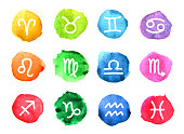Watercolor signs of the zodiac. Elements for design. Colored round dice.