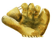 watercolor sketch of baseball glove on white background