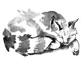 Watercolor portrait of sleeping cat. Hand drawn painting.
