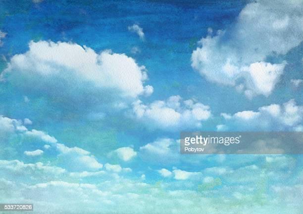 Aquarelle ciel bleu avec des nuages d'été