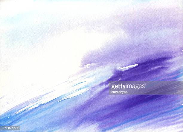 Watercolor wave with purple and blue
