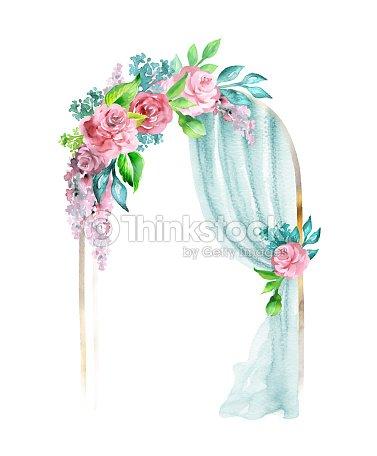 Aquarell Hochzeit Illustration Festlichen Rahmen Dekorative Bogen
