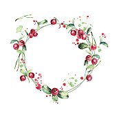 Watercolor wreath, red berries, green branches and leaves