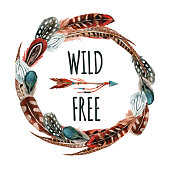 Watercolor wreath with bird feathers and arrow  isolated on white background. Wild and free design. Hand painted elements in trendy  boho style.