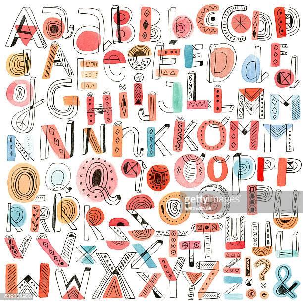 Watercolour and pencil doodle alphabet