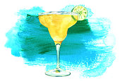 A watercolour drawing of a Margarita cocktail with a slice of lime, on a white background with a textured teal blue stain