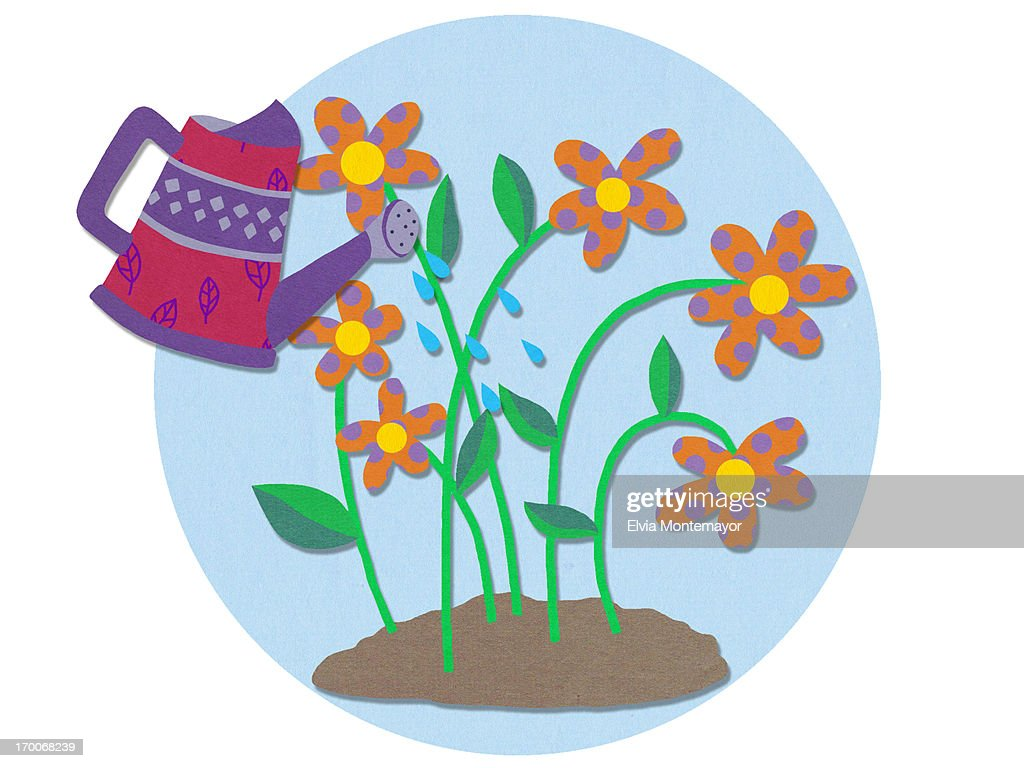 A watering can and flowers : Stock Illustration
