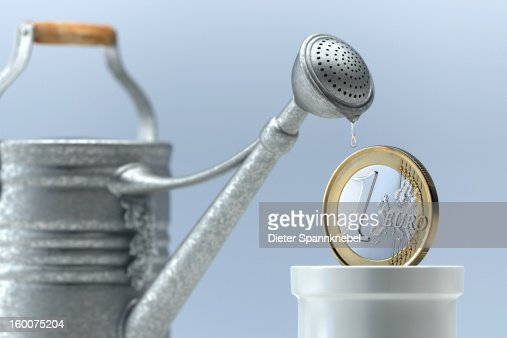 Watering can waters one euro coin in flower pot : Stock Illustration