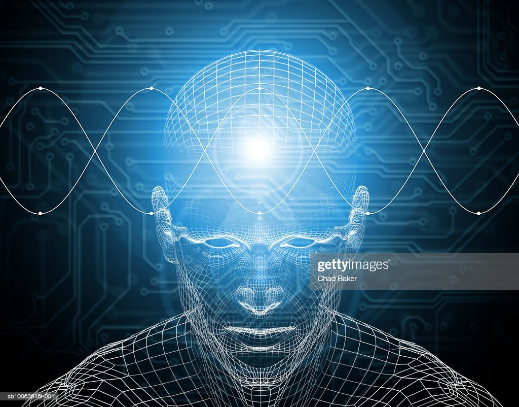 Waves traveling across wire frame of man's brain (Digitally Generated) : Stock Illustration