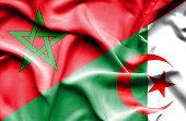 Waving flag of Algeria and Morocco
