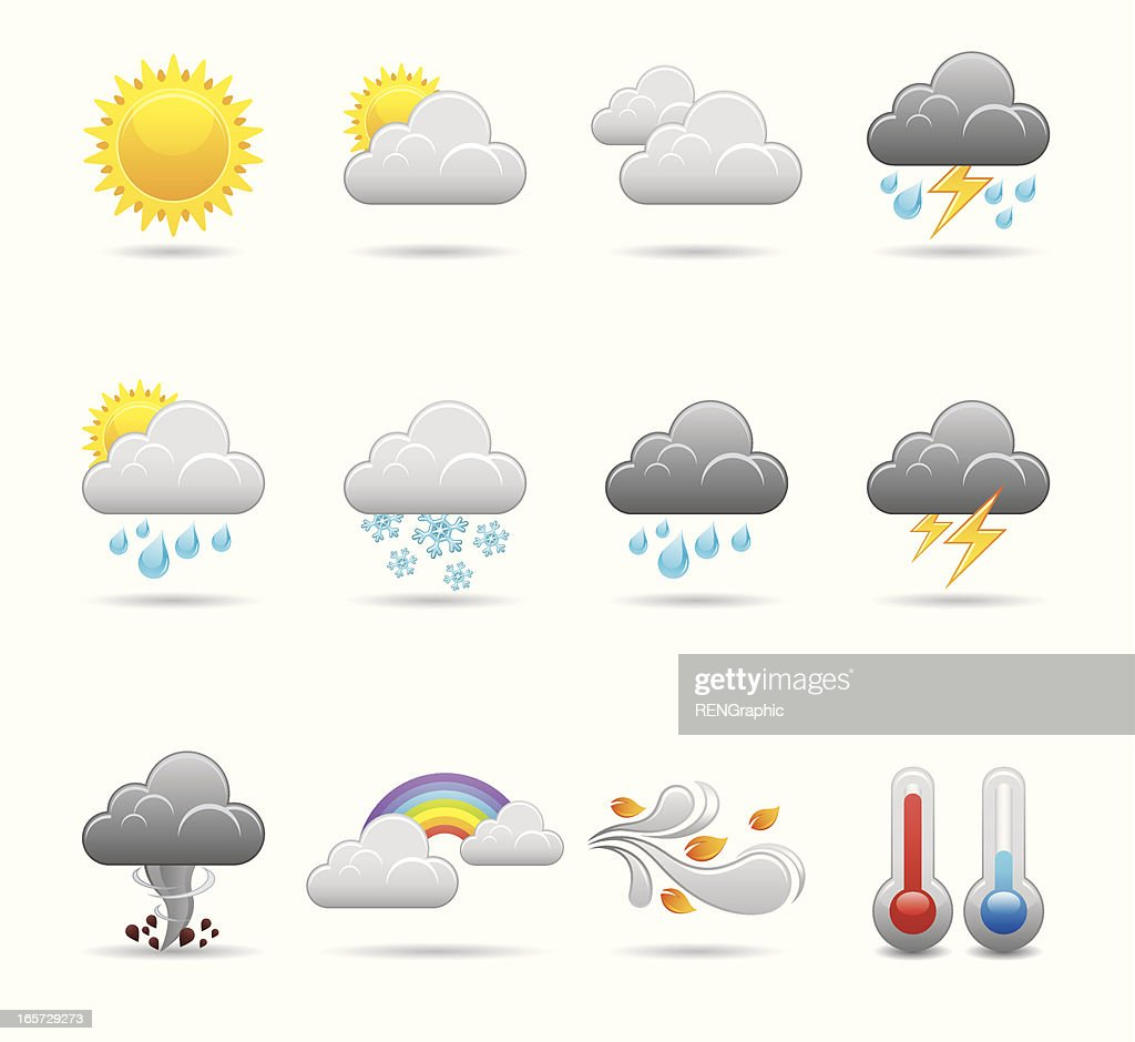 weather icon set doodle vector art getty images