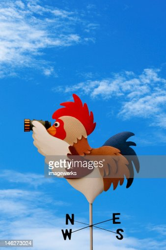 Weather vane against cloudy sky : Stock Illustration
