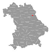 Weiden in der Oberpfalz county red highlighted in map of Bavaria Germany