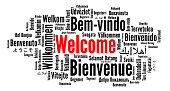 Welcome word cloud in different languages illustration