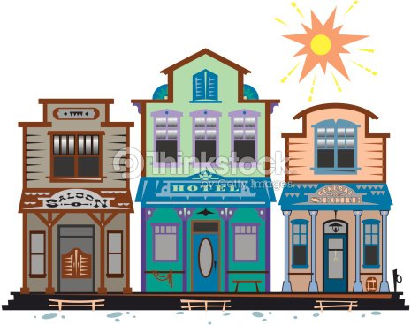 Western Town Saloon Hotel General Store Layered Color Also ...