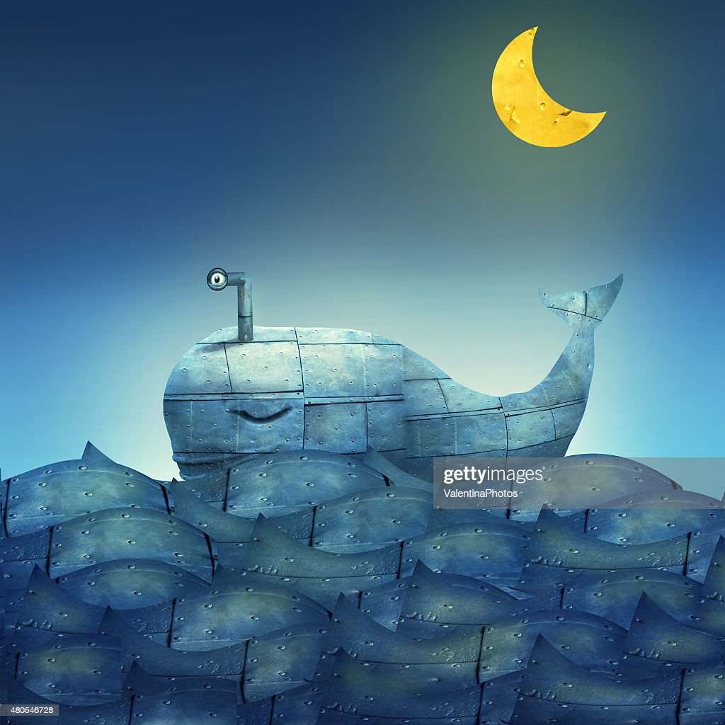 Whale in Blue : Stock Illustration