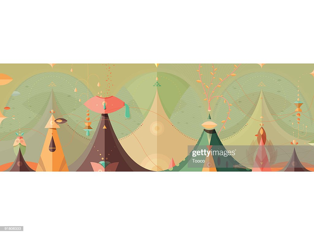 A whimsical fantasy landscape with tents : Stock Illustration