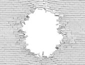 White Breaking Wall, 3d render