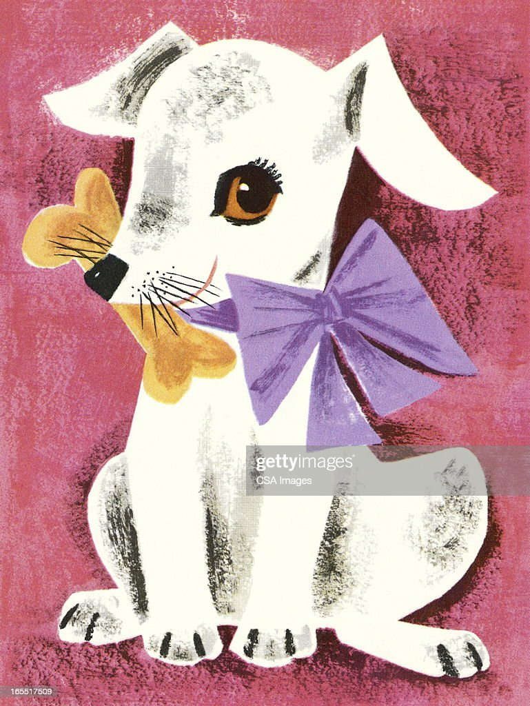 White Dog Holding a Bone : Stock Illustration