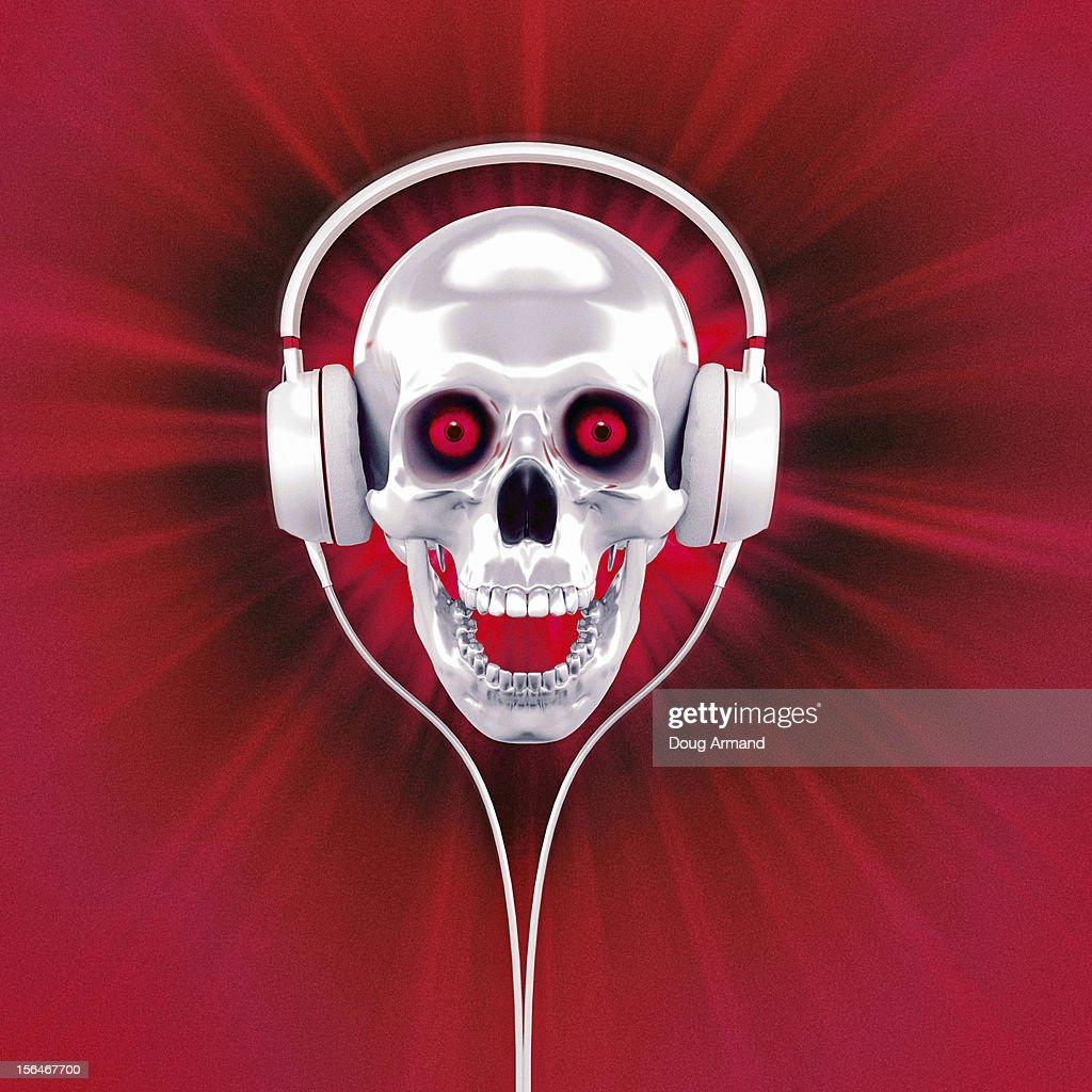 White human skull with headphones enjoying music : Stock Illustration