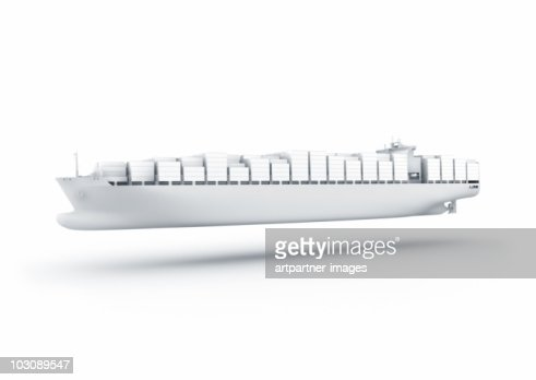 White International Container Ship for Cargo : Stock Illustration