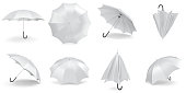 White umbrellas and parasols in various positions open and folded collection. 3d rendering.