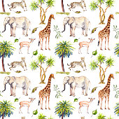 Wild animals - giraffe, elephant, cheetah, antelope. Savannah and palm trees. Watercolor repeating background