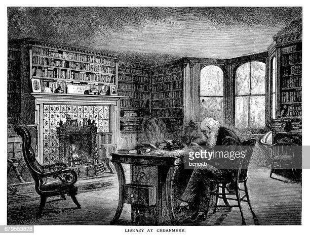 William Cullen Bryant in his library