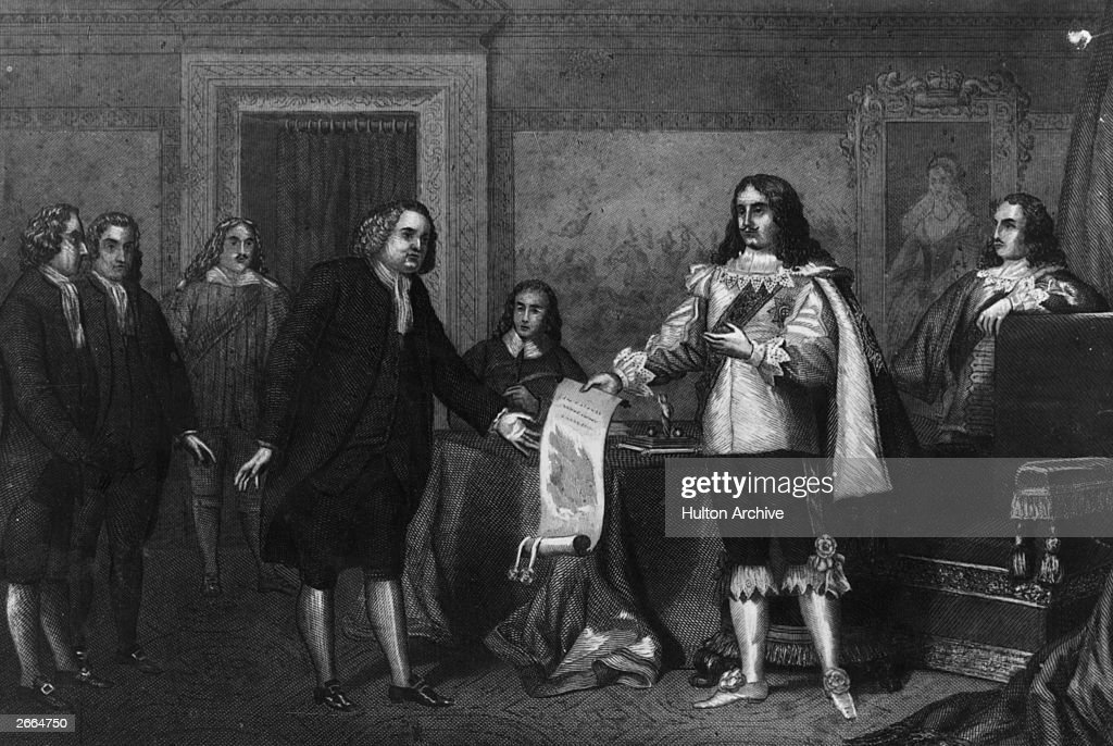 <a gi-track='captionPersonalityLinkClicked' href=/galleries/search?phrase=William+Penn&family=editorial&specificpeople=162659 ng-click='$event.stopPropagation()'>William Penn</a> (1644 - 1718), English Quaker and the founder of Pennsylvania, receives the Charter of Pennsylvania from King Charles II (1630 - 1685) in payment of a debt owed to his father, 4th March 1681.
