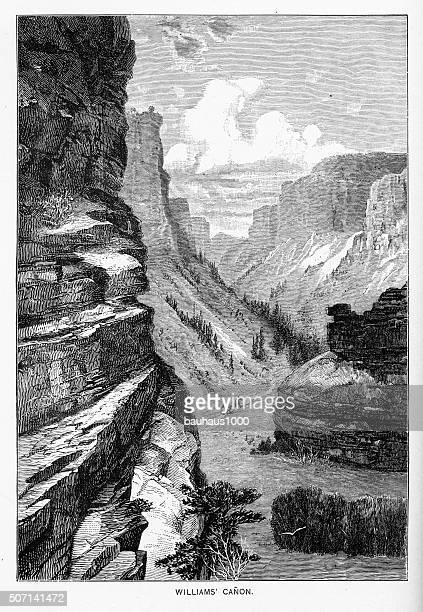 Williams Canyon in Manitou Springs, Colorado Victorian Engraving