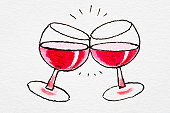 Wine glasses clinking