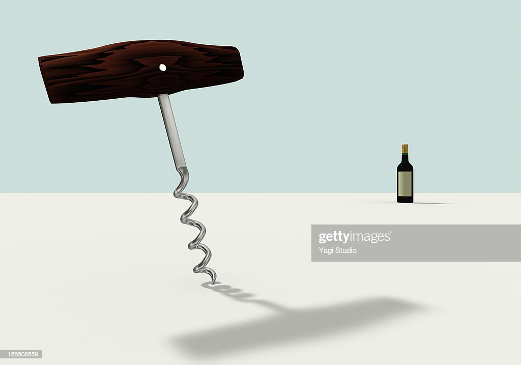 A wine opener and wine : Stock Illustration