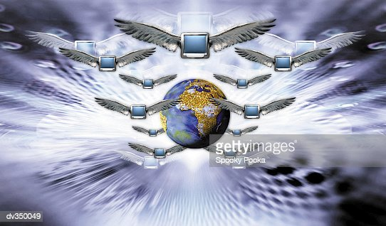 Winged monitors flying in front of globe : Stock Illustration