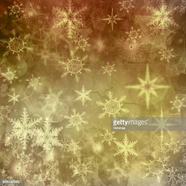 Winter background with snowflakes and star shapes