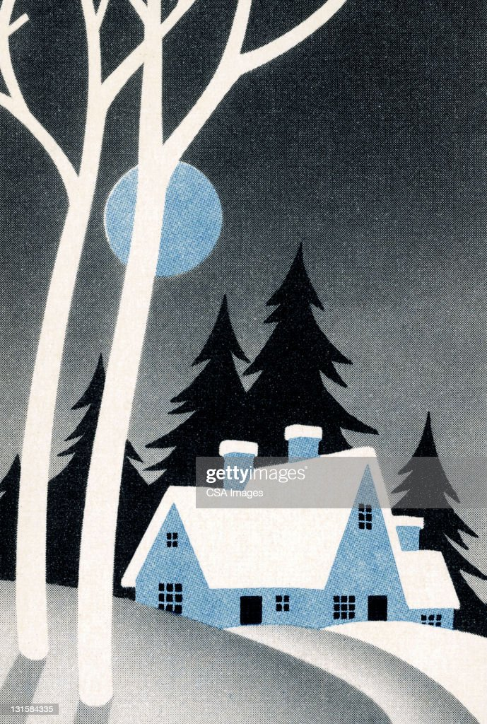 Winter Landscape With House : Stock Illustration