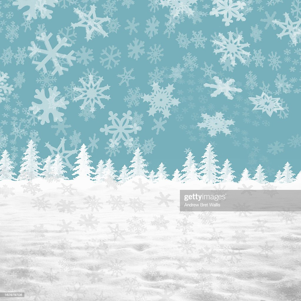 Winter snowscape made from paper and card : Stock Illustration