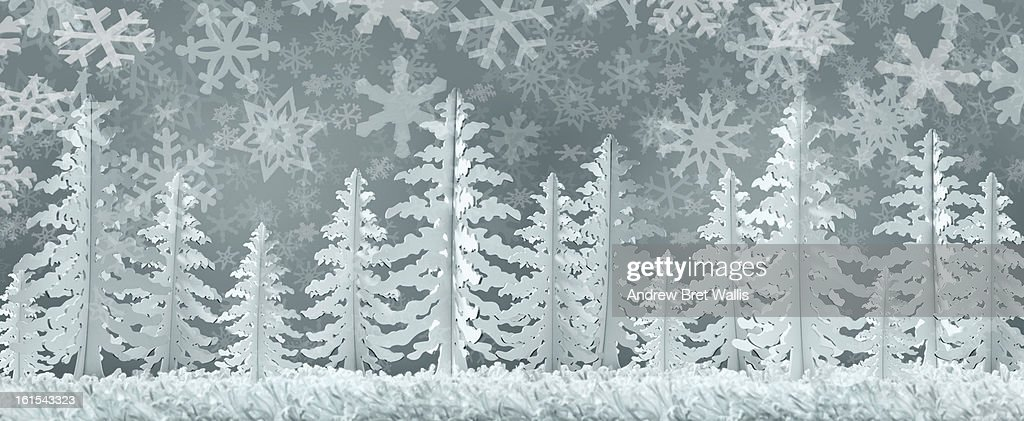 Winter snowscene made from card and paper : Stock Illustration