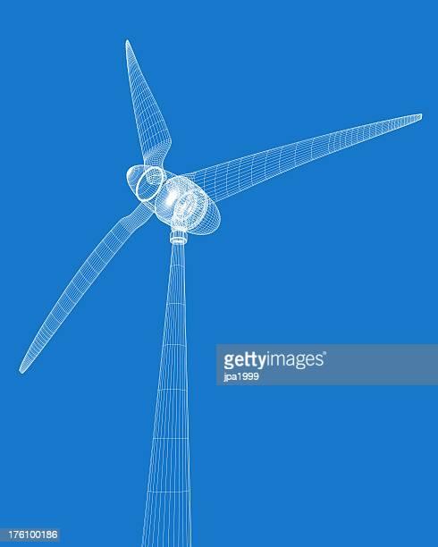 Wireframe rendered wind turbine