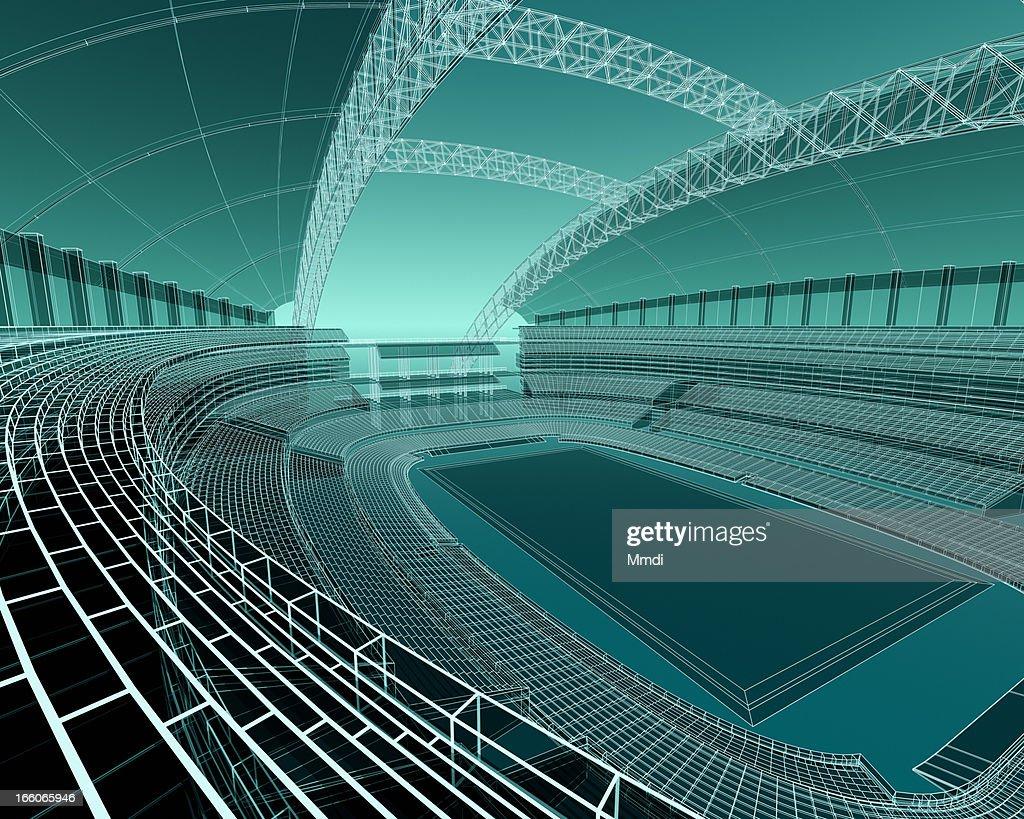 Wireframe sports stadium : Stock Illustration