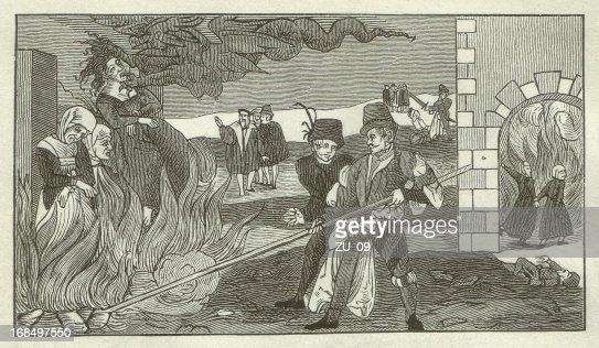 Hexe-Brennen in der Grafschaft Regenstein, 1550 : Stock-Illustration